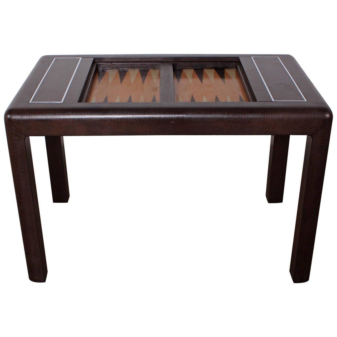 backgammon game table by karl springer at 1stdibs. Black Bedroom Furniture Sets. Home Design Ideas