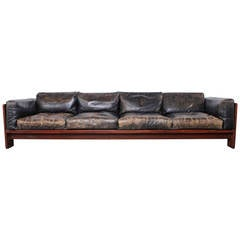 Rosewood and Leather Bastiano Sofa by Tobia Scarpa