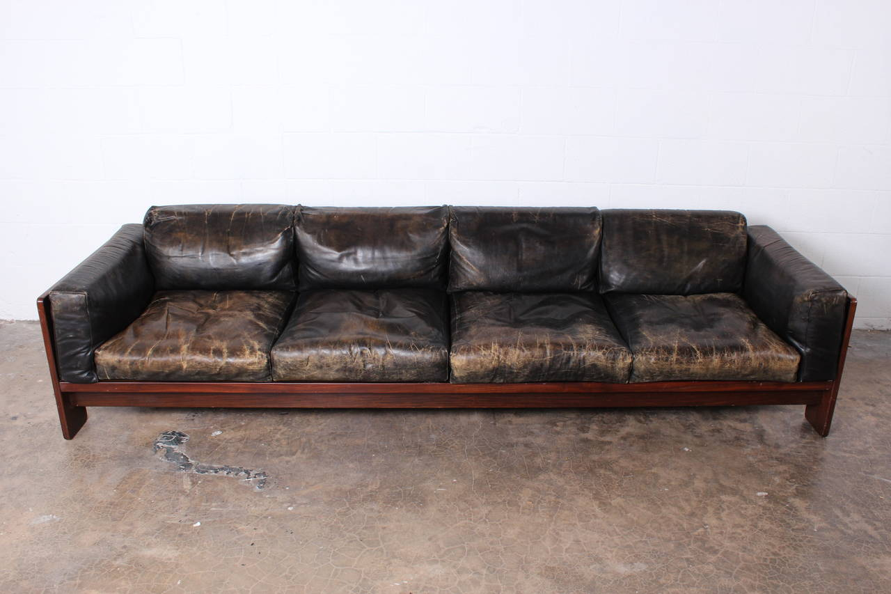 rosewood and leather bastiano sofa by tobia scarpa image 4. Black Bedroom Furniture Sets. Home Design Ideas