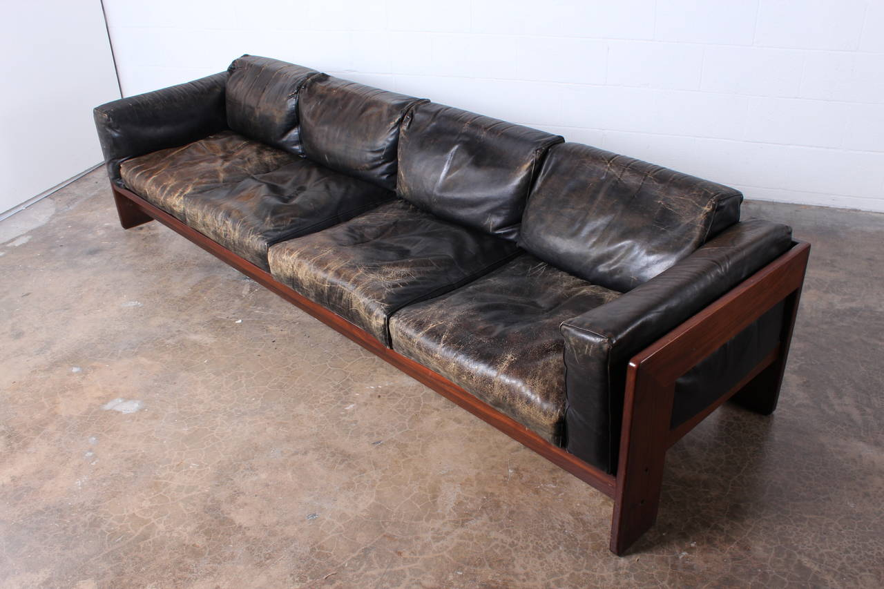 rosewood and leather bastiano sofa by tobia scarpa at 1stdibs. Black Bedroom Furniture Sets. Home Design Ideas
