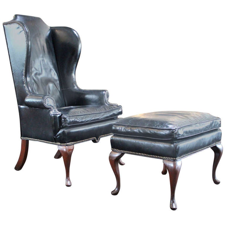 Beautifully Patinated Leather Wingback Chair And Ottoman