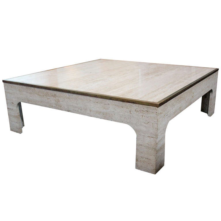 Travertine Coffee Table With Brass Trim At 1stdibs