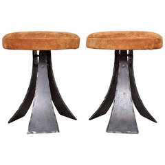 Pair of Forged Steel Stools Designed by John Baldasare