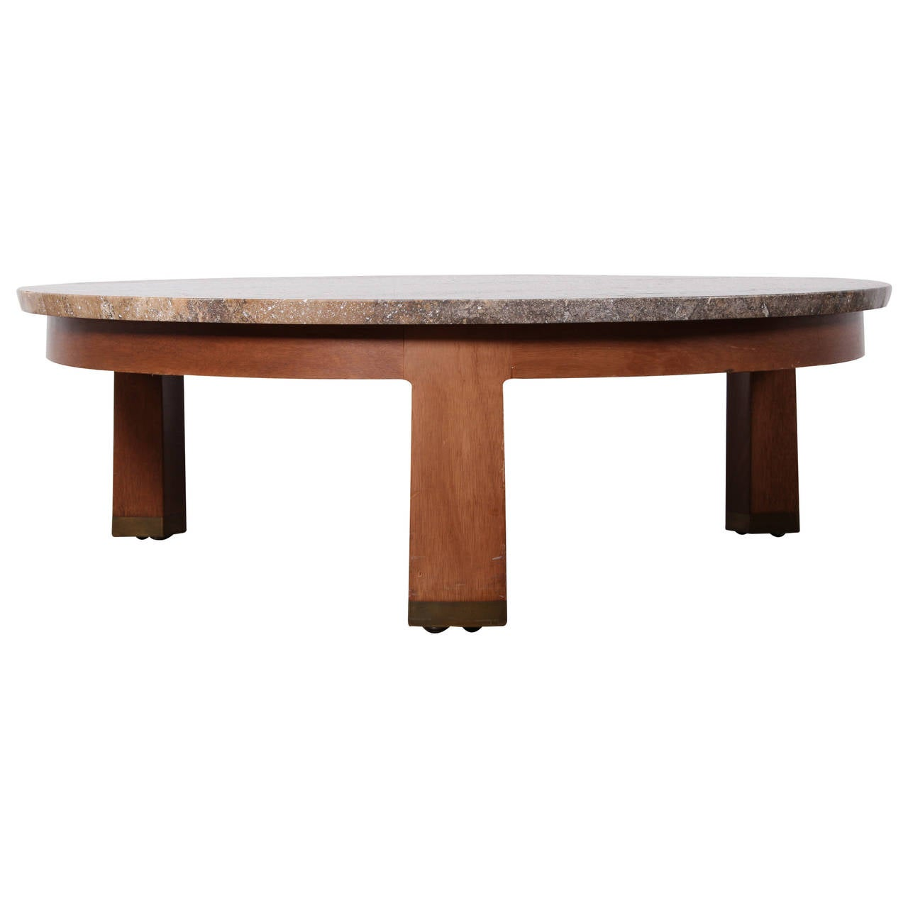 Travertine And Mahogany Coffee Table By Edward Wormley For Dunbar For Sale At 1stdibs