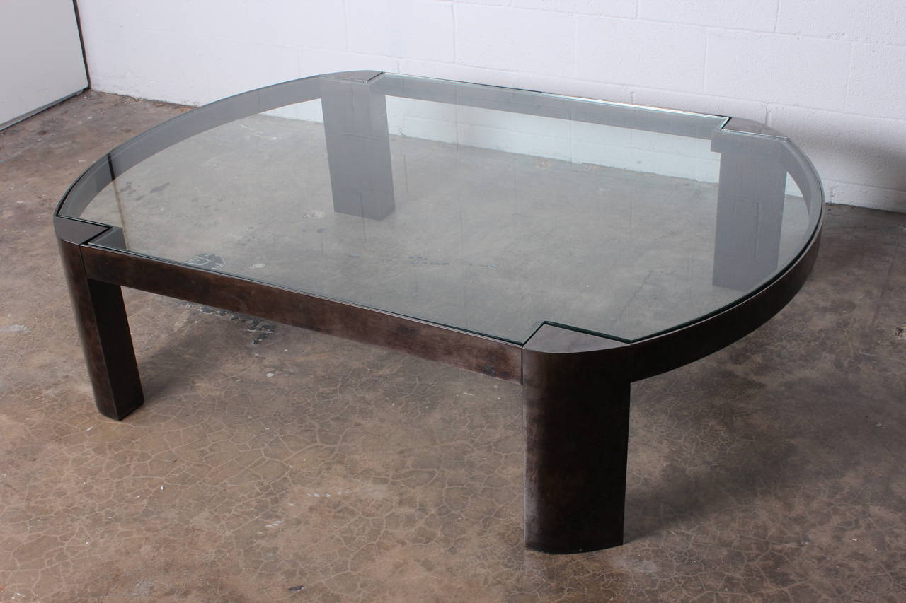 Large Gunmetal Coffee Table By Karl Springer At 1stdibs
