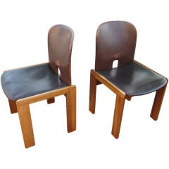 Pair of Leather Chairs by Tobia Scarpa for Cassina