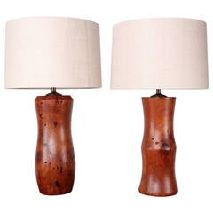 Pair of Handcrafted Mesquite Wood Lamps