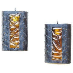 Pair of Brutalist Metal and Blown Glass Sconces