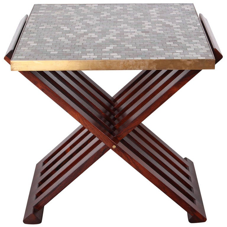 Dunbar X-Base Table with Murano Glass Tile Top For Sale