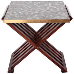Dunbar X-Base Table with Murano Glass Tile Top