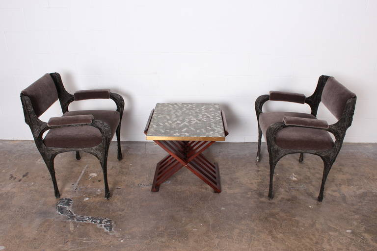 Dunbar X-Base Table with Murano Glass Tile Top In Excellent Condition For Sale In Dallas, TX