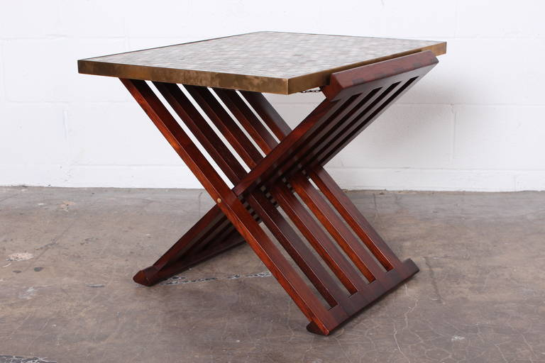 Mid-20th Century Dunbar X-Base Table with Murano Glass Tile Top For Sale