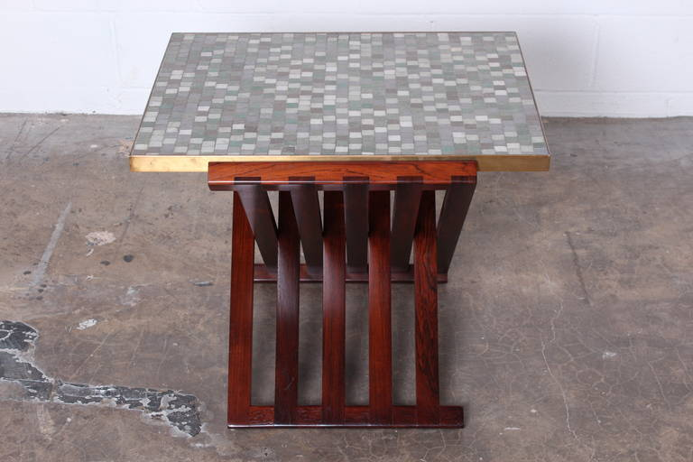 Dunbar X-Base Table with Murano Glass Tile Top For Sale 3