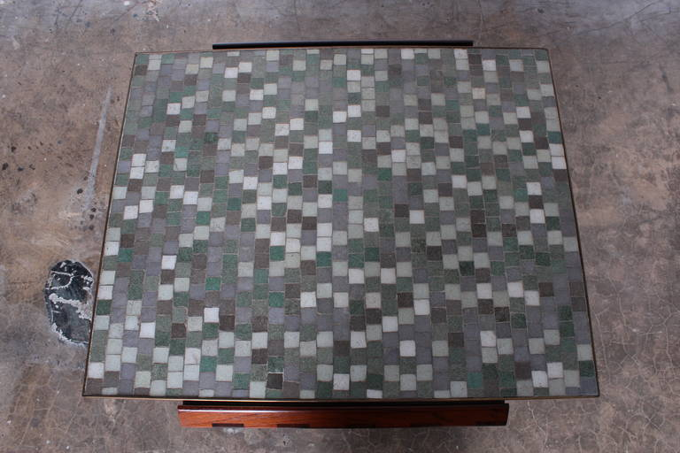 Dunbar X-Base Table with Murano Glass Tile Top For Sale 4