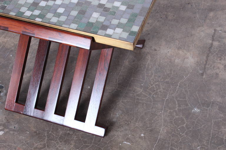 Dunbar X-Base Table with Murano Glass Tile Top For Sale 5
