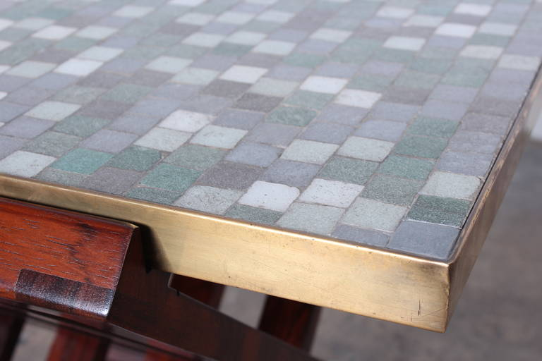 Dunbar X-Base Table with Murano Glass Tile Top For Sale 6
