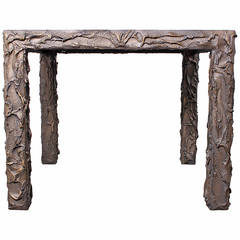 Sculpted Bronze Dining or Game Table by Paul Evans