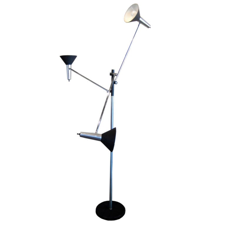 three arm adjustable floor lamp at 1stdibs. Black Bedroom Furniture Sets. Home Design Ideas