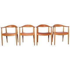 Set of Four Round Chairs by Hans Wegner