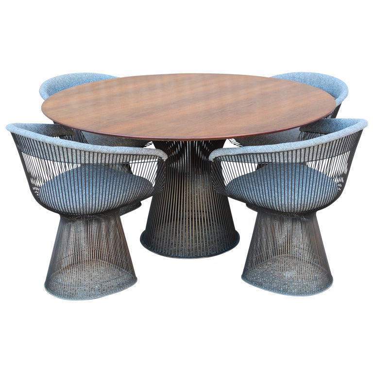 Solid Bronze And Walnut Dining Set By Warren Platner At