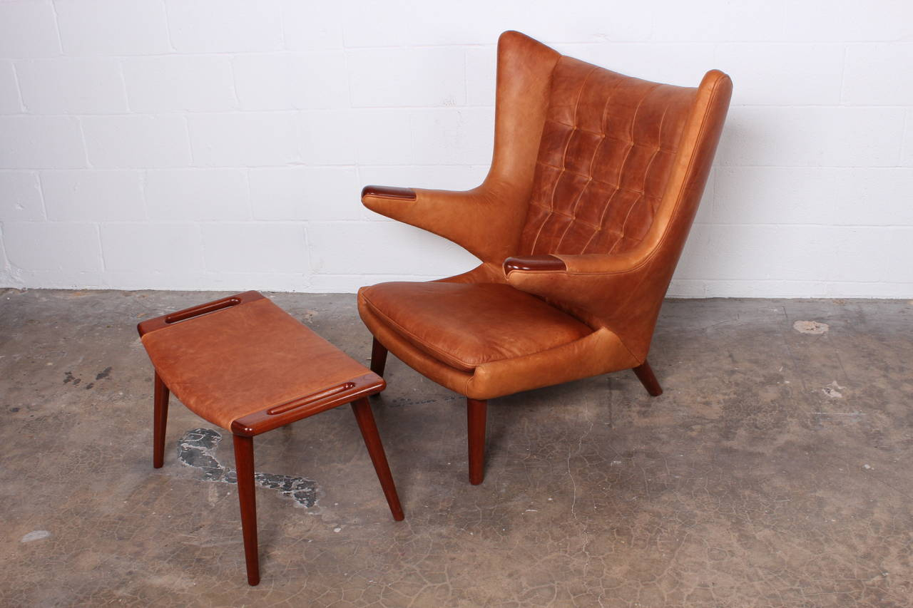 Danish Leather Papa Bear Chair And Ottoman By Hans Wegner For Sale
