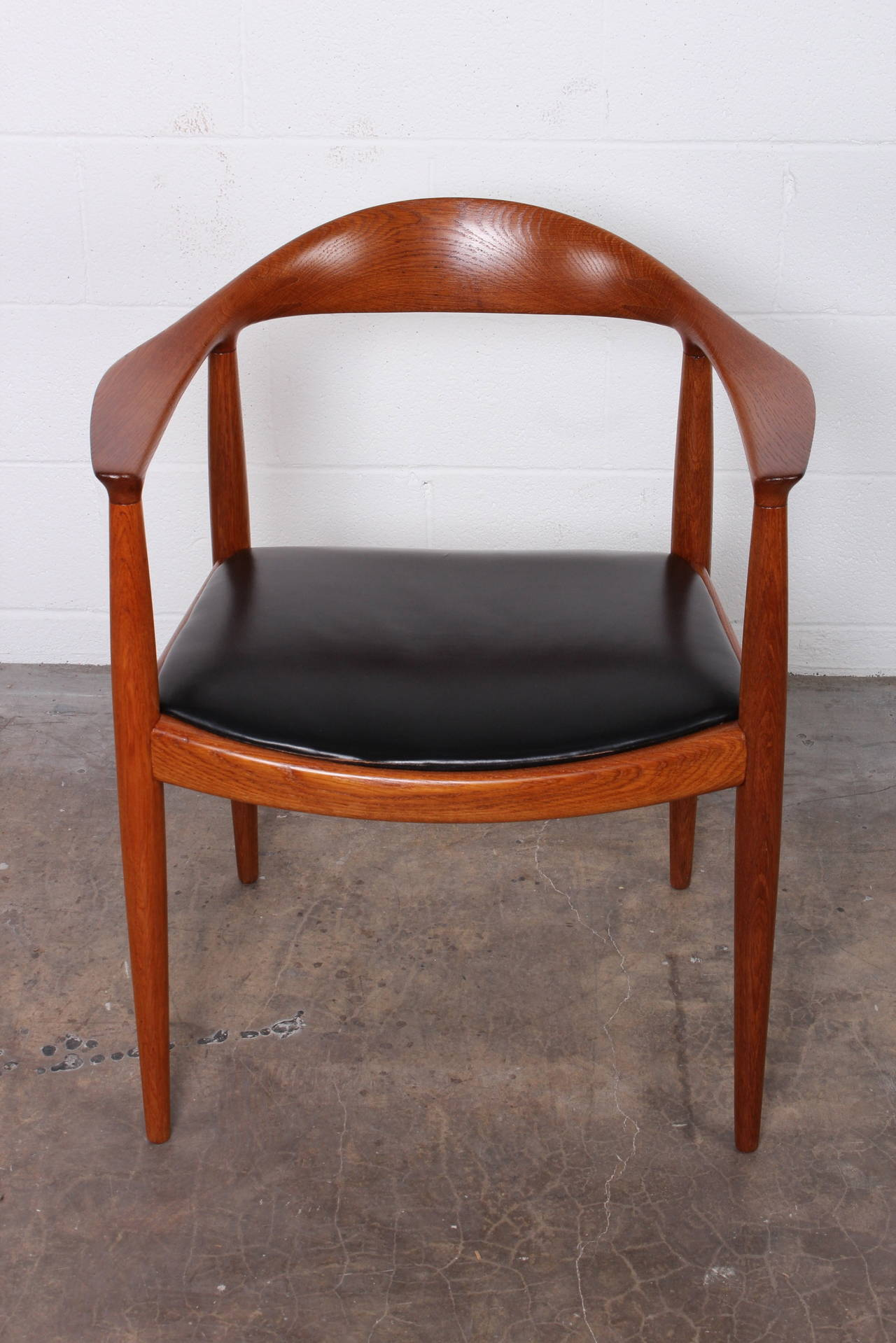 Oak Round Chair By Hans Wegner For Johannes Hansen For Sale At 1stdibs