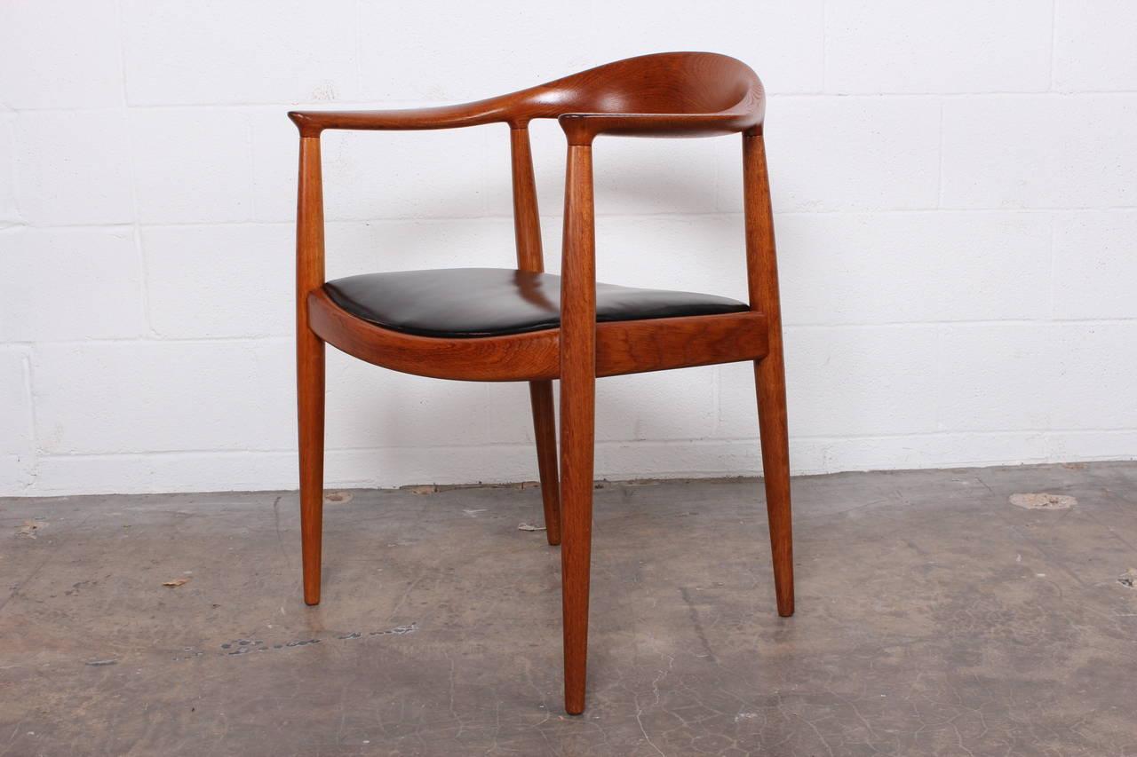 Oak Round Chair By Hans Wegner For Johannes Hansen At 1stdibs