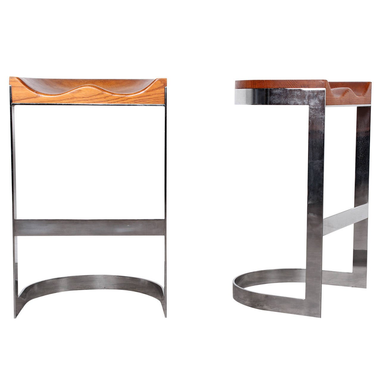 Pair Of Barstools By Warren Bacon At 1stdibs