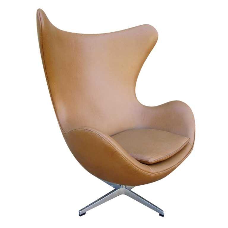 leather egg chair designed by arne jacobsen at 1stdibs. Black Bedroom Furniture Sets. Home Design Ideas