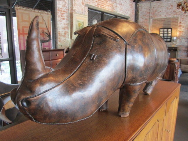 Abercrombie And Fitch Leather Rhino Ottoman At 1stdibs
