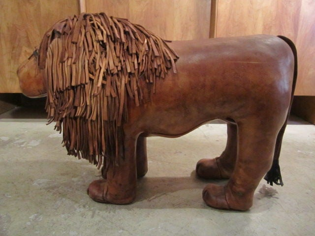 Abercrombie And Fitch Leather Lion Ottoman At 1stdibs