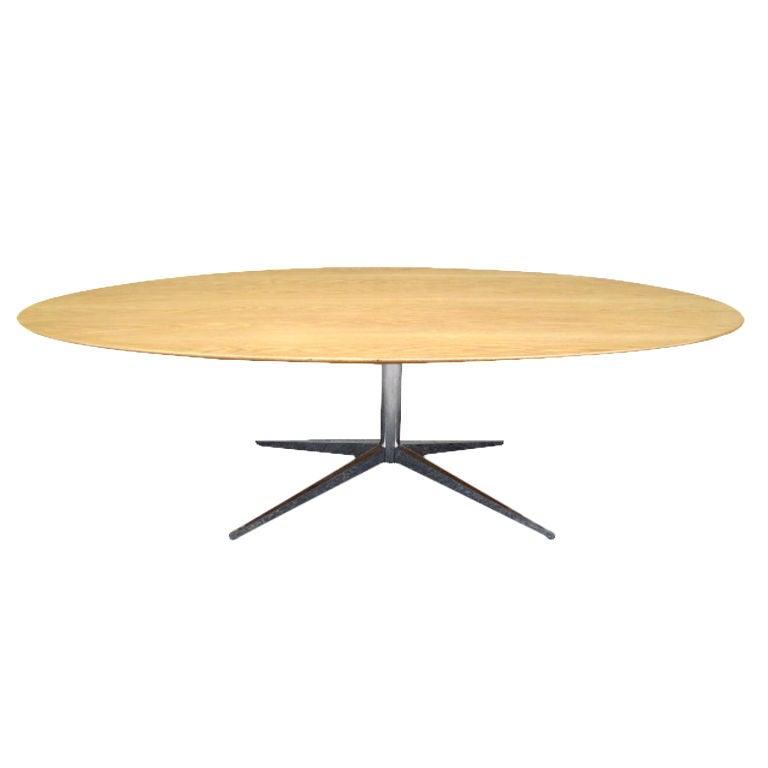Large Oak Elliptical Table Desk By Florence Knoll At 1stdibs