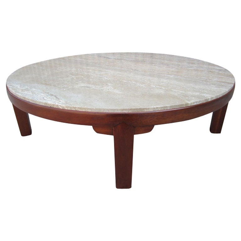 Large Travertine Coffee Table By Edward Wormley For Dunbar