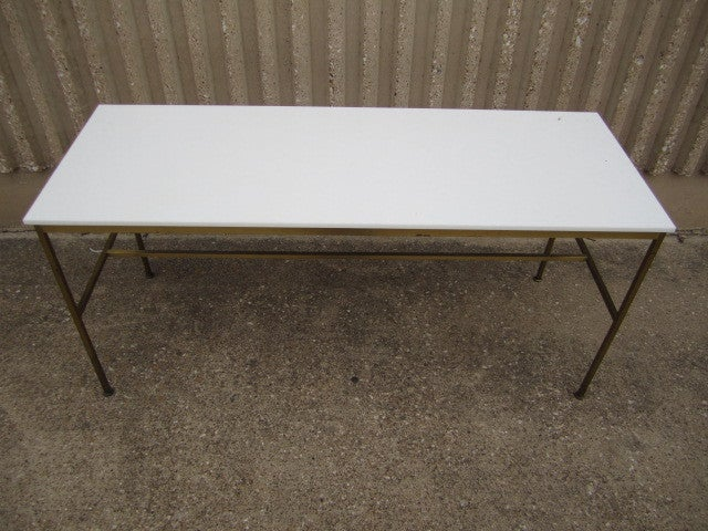 Mid-20th Century Brass and Vitrolite console table by Paul McCobb For Sale