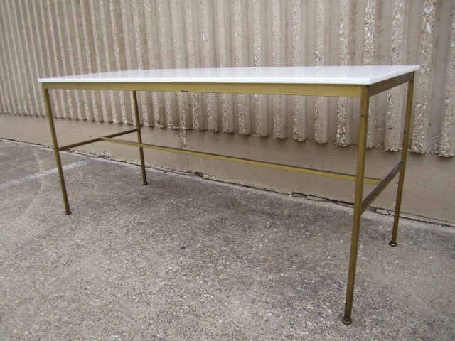 Brass and Vitrolite console table by Paul McCobb For Sale 1