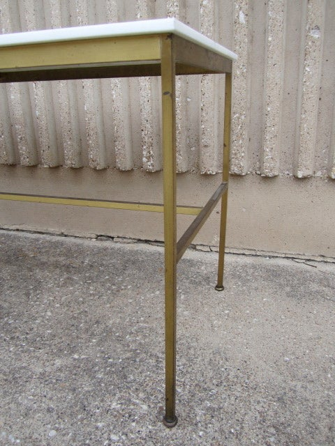 Brass and Vitrolite console table by Paul McCobb For Sale 2