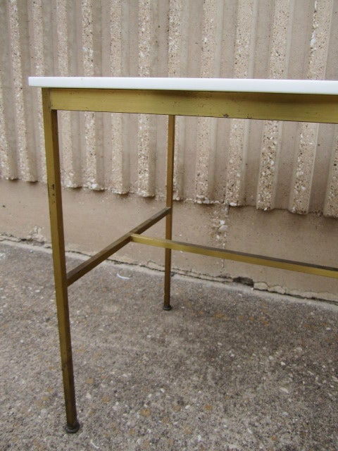 Brass and Vitrolite console table by Paul McCobb For Sale 3