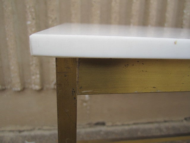 Brass and Vitrolite console table by Paul McCobb For Sale 5