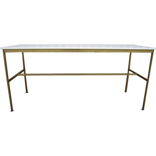 Brass and Vitrolite console table by Paul McCobb For Sale