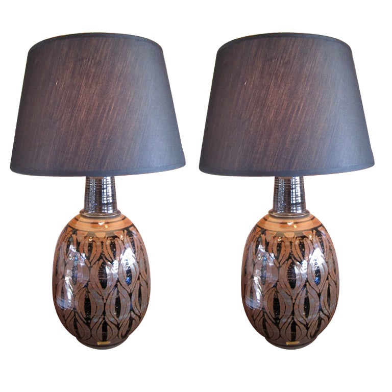 Pair of pottery lamps by Wishon-Harrell