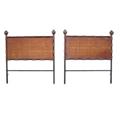 Pair of leather headboards