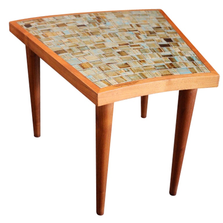 Tile Top Wedge Table By Gordon Martz At 1stdibs