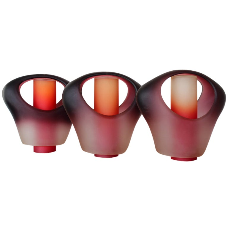 Set Of Three Thick Glass Pendant Lights At 1stdibs