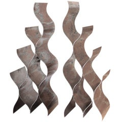 Pair of Large Hand Hammered Nickel Plated Andirons