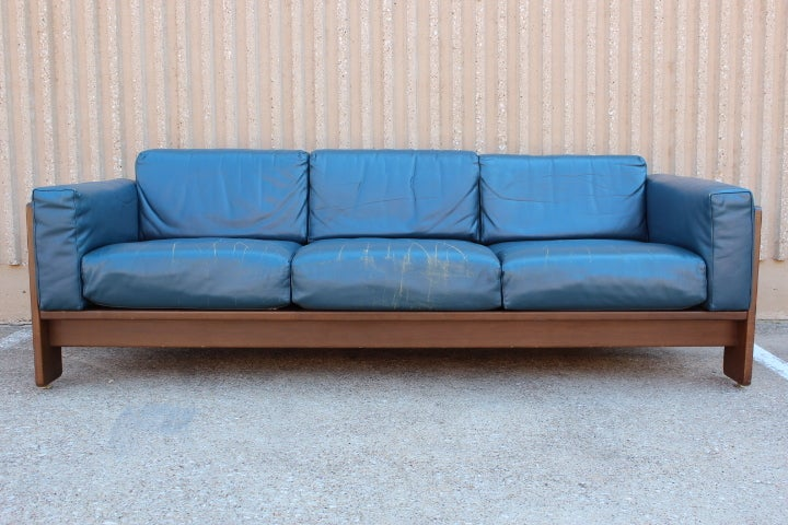 original blue leather bastiano sofa by tobia scarpa at 1stdibs