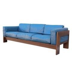 Original Blue leather Bastiano sofa by Tobia Scarpa