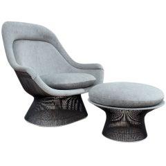 Bronze Throne chair and ottoman by Warren Platner