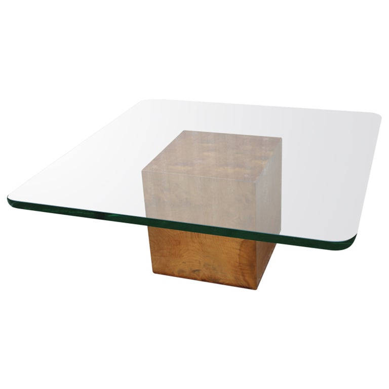 Dunbar cube coffee table with green glass top at 1stdibs for Wood cube coffee table set