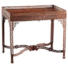 Masterpiece Chippendale Pierced Fret Carved Mahogany Tea Table