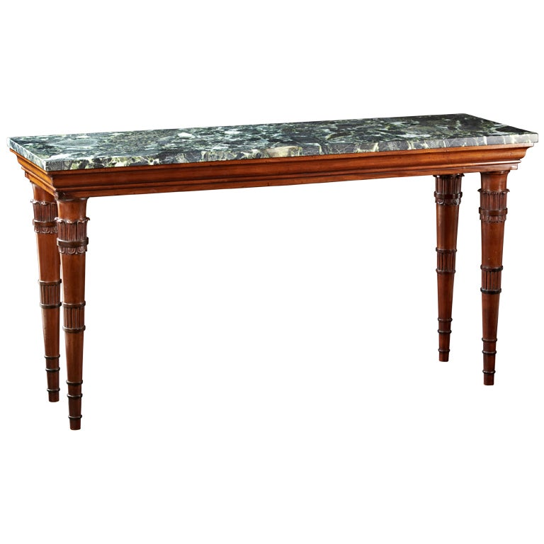 A narrow english regency mahogany and marble top center for Narrow cocktail table